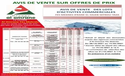 AVIS DE VENTE SUR OFFRE DE PRIX DES LOTS D'ACTIVITES COMMERCIALES  DU 24 AVRIL AU 19 MAI 2021 A 16 H 00 MN