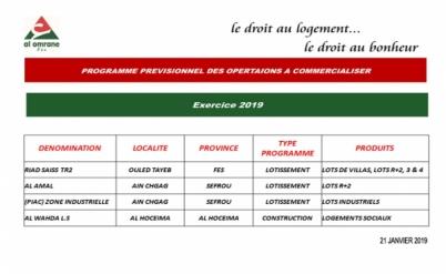 Programme prévisionnel à commercialiser exercice 2019