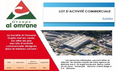 VENTE SUR OFFRE DE PRIX - LOT D'ACTIVITÉ COMMERCIALE à Saidia
