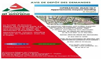 Avis de dépôt des demandes d'acquisition des appartements moyens standing relevant de l'opération Jnan Isly à Oujda.