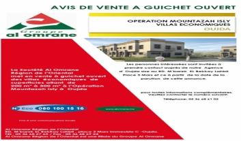Vente à guiche ouvert des Villas Economiques Opération Mountazah Isly à Oujda