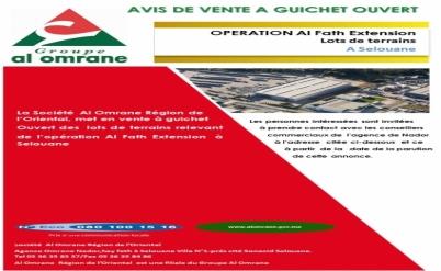 Avis de vente à guichet   ouvert des lots de terrains relevant de l'opération Al Fath Extension à Selouane