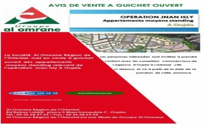 Vente à guichet ouvert des appartements  moyens standing - Opération Jnan Isly à Oujda.