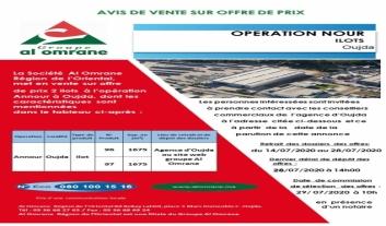 Vente sur offre  de prix de deux  ilots à l'opération  Annour à Oujda