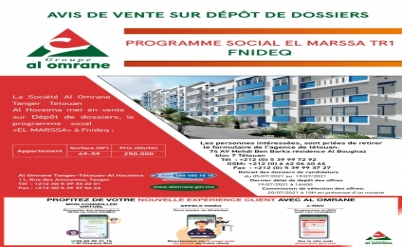 AVIS DE VENTE PROGRAMME SOCIAL AL MARSA 250.000 DH HT